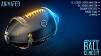american football ball concept 3d model