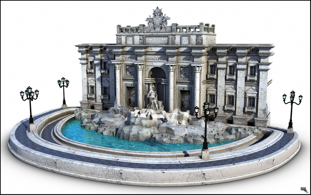 3d di trevi fontana model