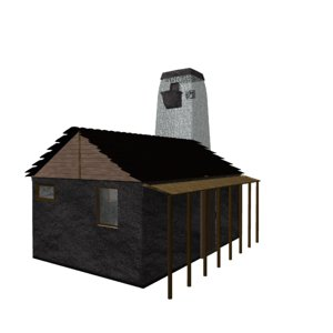 3d old house tower model