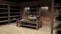 3d model workshop shelves compressor