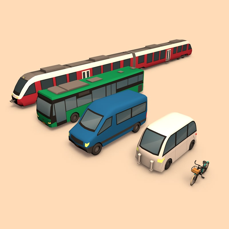cartoon public transport car 3d model
