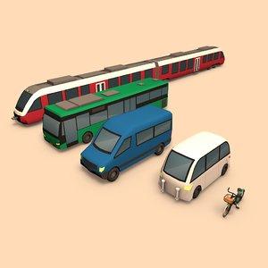 cartoon public transport car 3d model