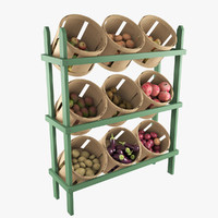 Wood Basket Floor Display