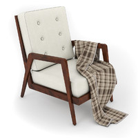 3d model french lounge chair