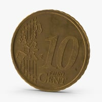 10-cent-euro-coin-german-aged 3d max