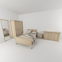 bed bedroom set 3d obj
