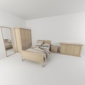 bed bedroom set 3d obj
