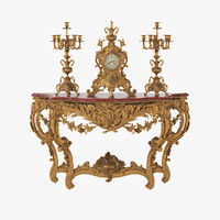 French 19h Century Console with Clock & Candelabras