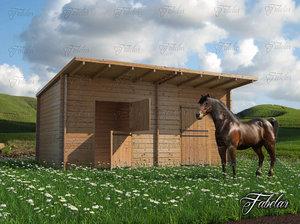 3d stables grass horse