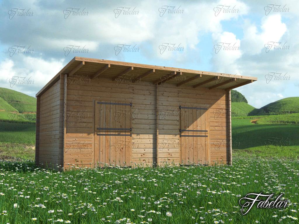 3d stables grass model