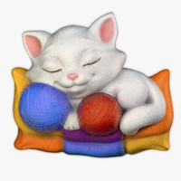 bas-relief kitten 3ds