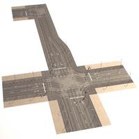 3d model crossroad street way