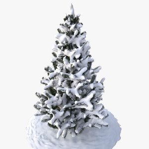 3d model snowy pine tree v2
