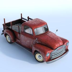 3d old rusty pickup truck model