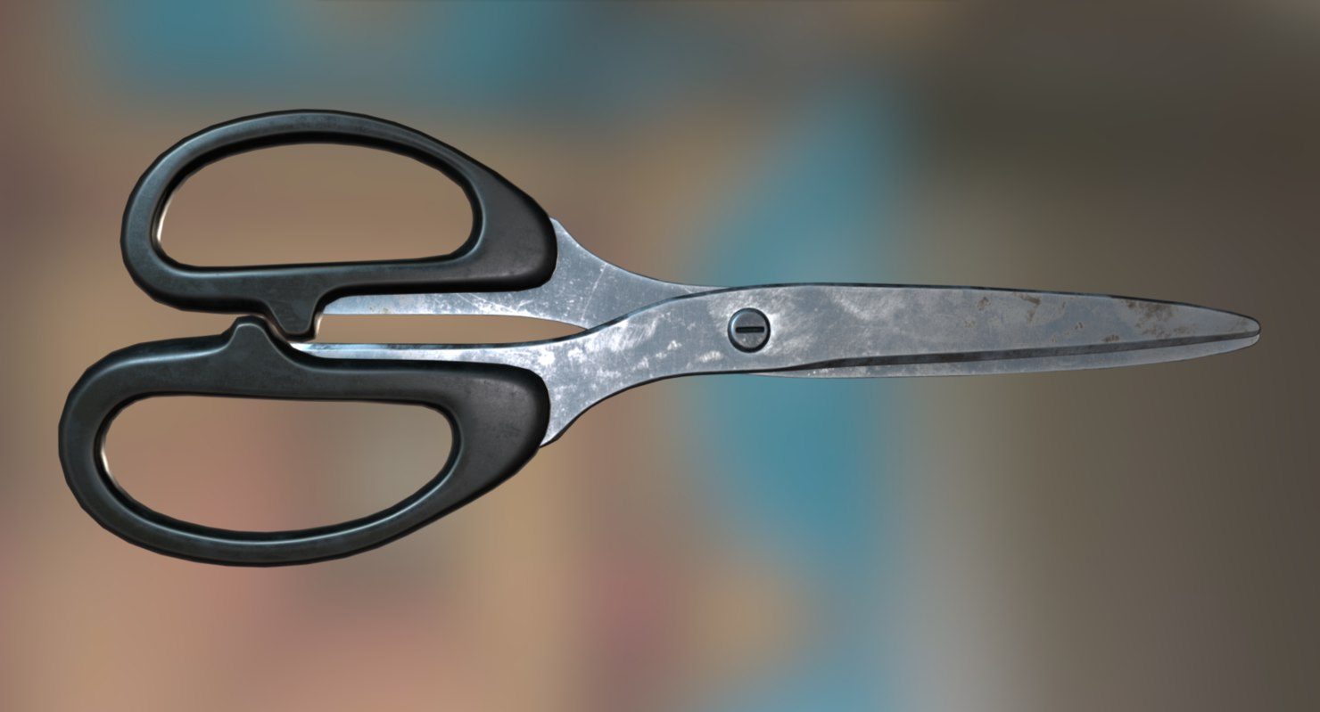 scissors rigged old version 3d 3ds