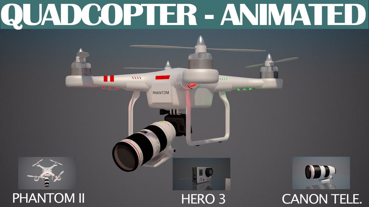 3d model quadcopter animation