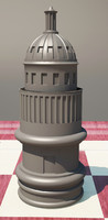 3d model chess white house rook