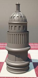 3d model chess white house rook