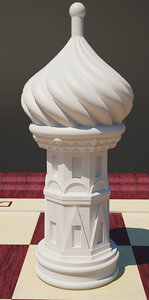 3d chess cathedral rook model