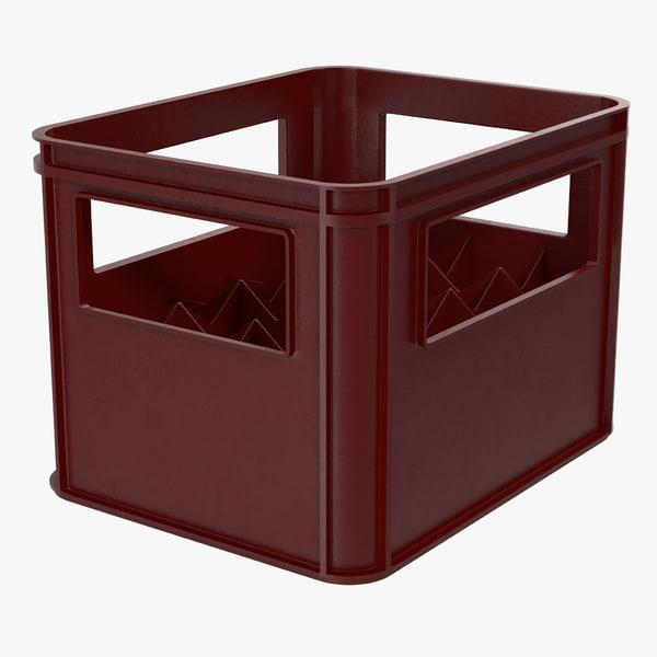 3d plastic bottle crates red