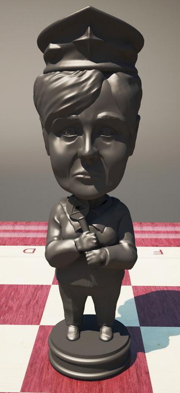 chess merkel 3d model