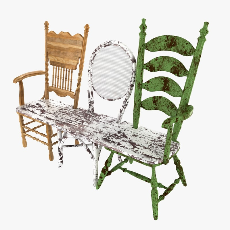 bench wood chair old 3d model