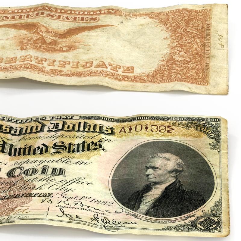 3d model of 1000 dollars gold cetrificat