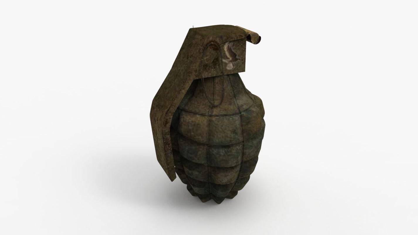 3d model of hand grenade