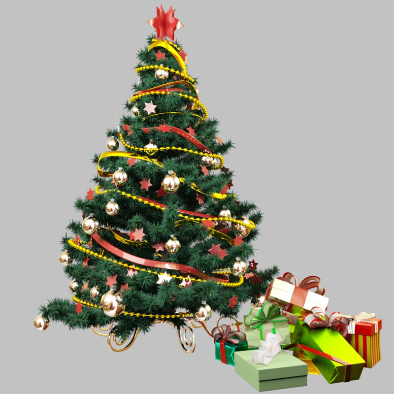 christmas tree presents 3d model