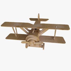 3d wood biplane