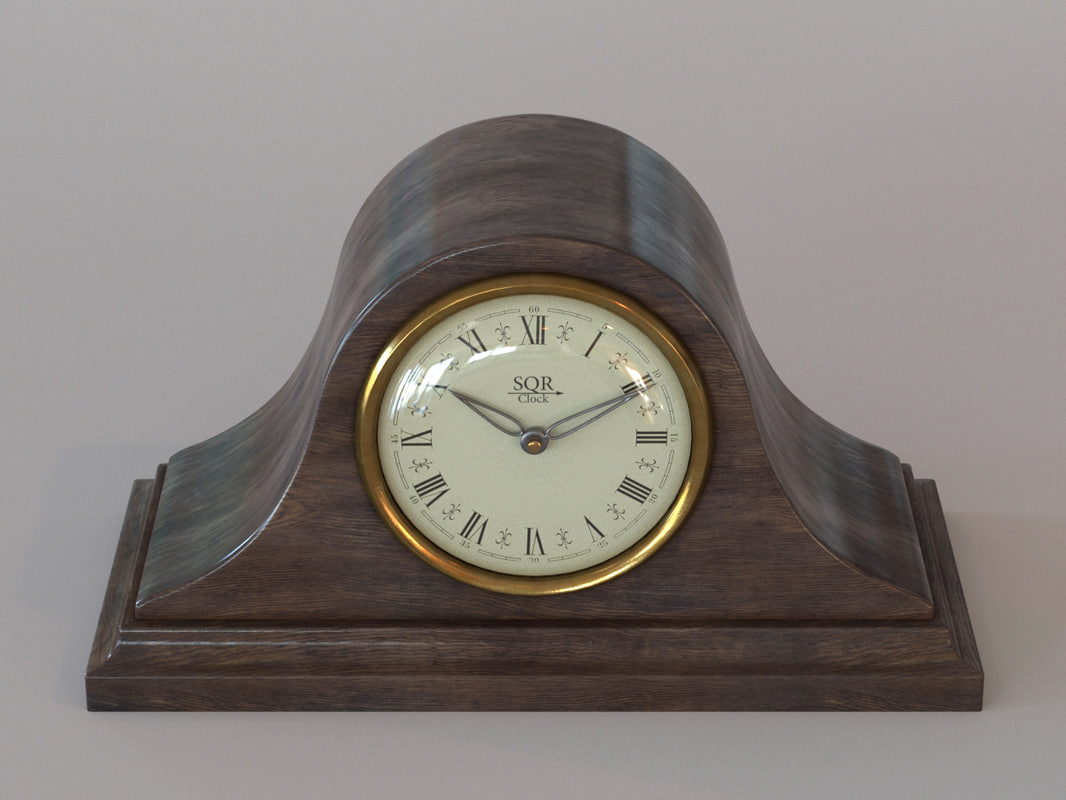 vintage wooden table clock 3d max