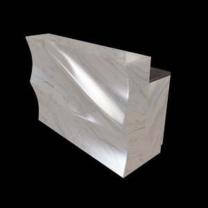 bar counter white marble 3d model