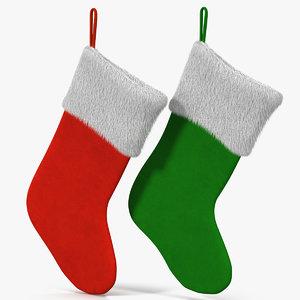 christmas socks fur 3d model