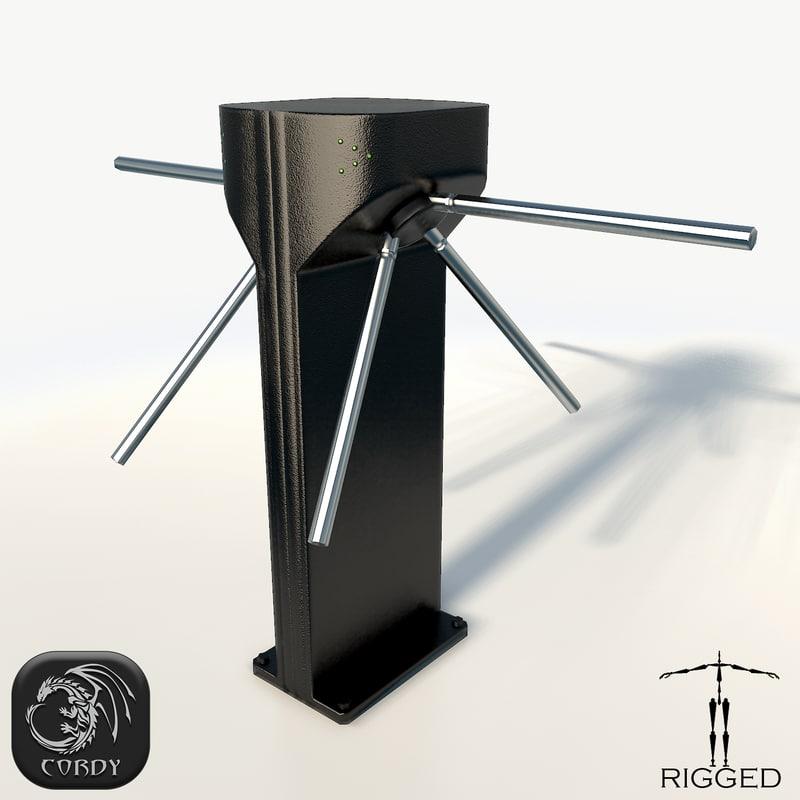 rigged turnstile 3d model