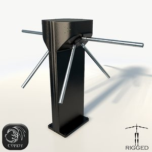 rigged turnstile 3d model