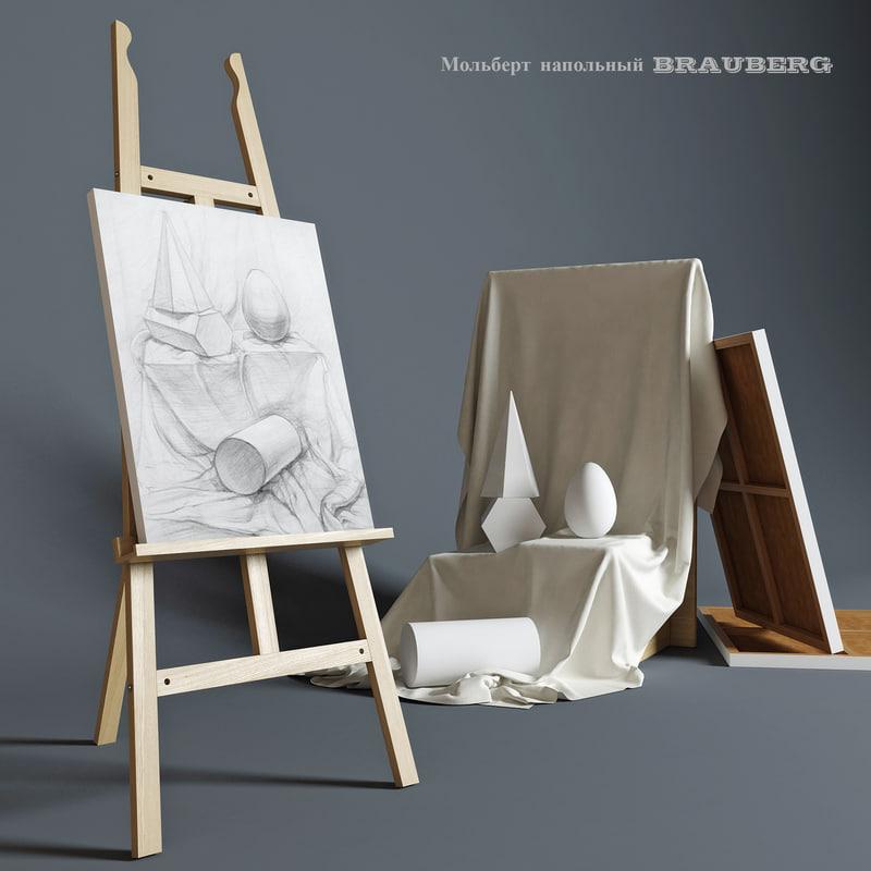 3d model easel brauberg composition plaster
