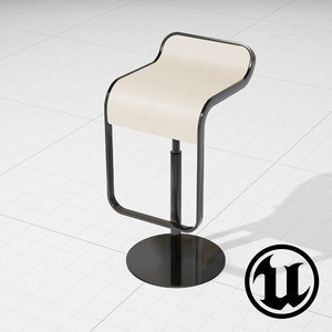 3d unreal lem piston bar stool