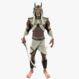3d egypt warrior man rigged model