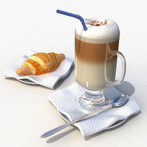 3d latte croissant model