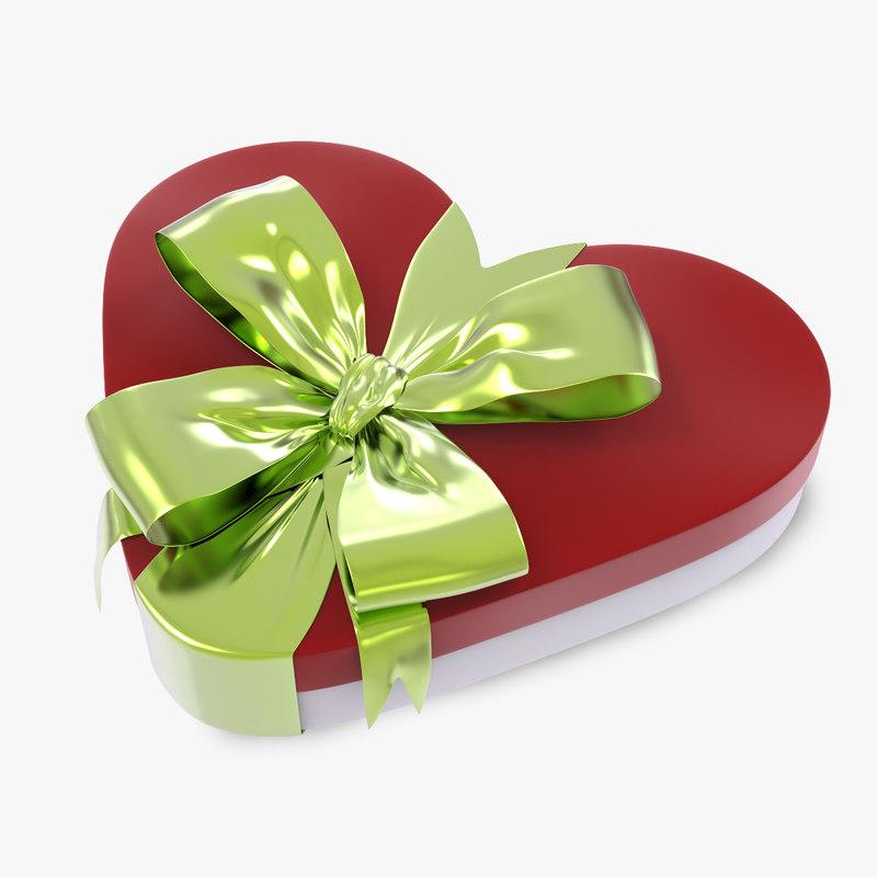 3d model heart box gift