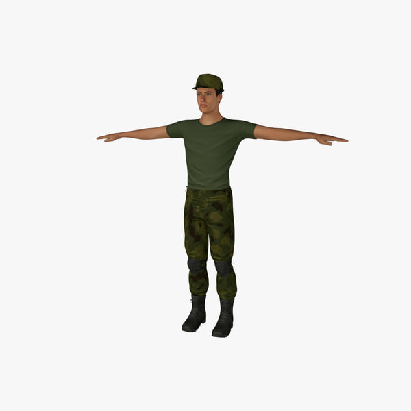 soldier rigged 3d obj