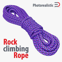 rock climbing rope purple 3d model