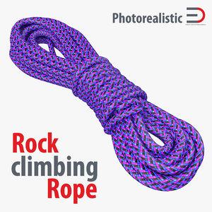rock climbing rope purple 3d model