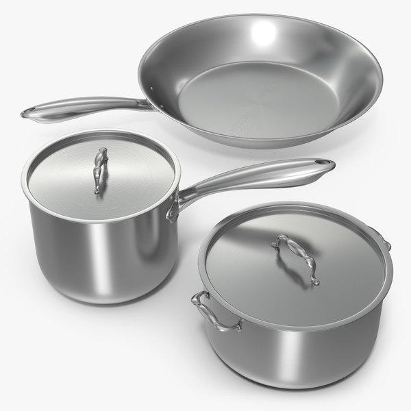 3d model stainless kitchen pot set