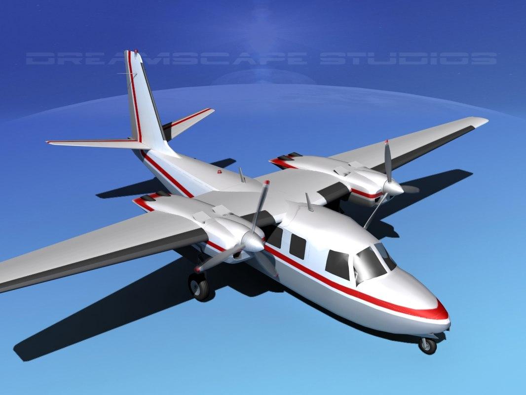 propellers aero commander 560 3d 3ds