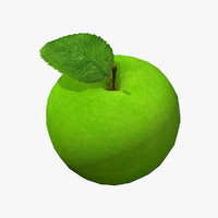 3d real-time green apple