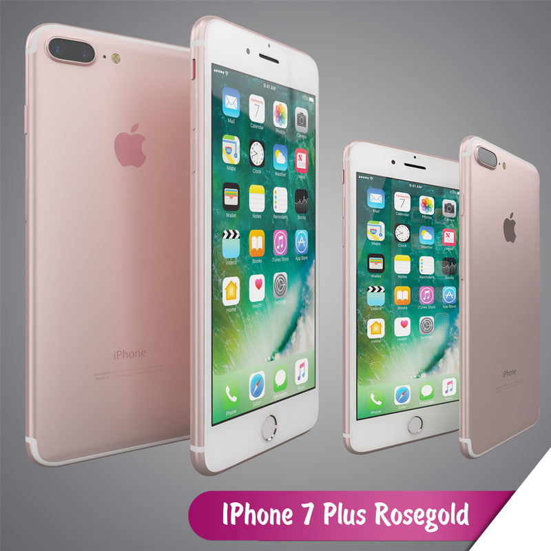 3d apple iphone 7 rosegold model