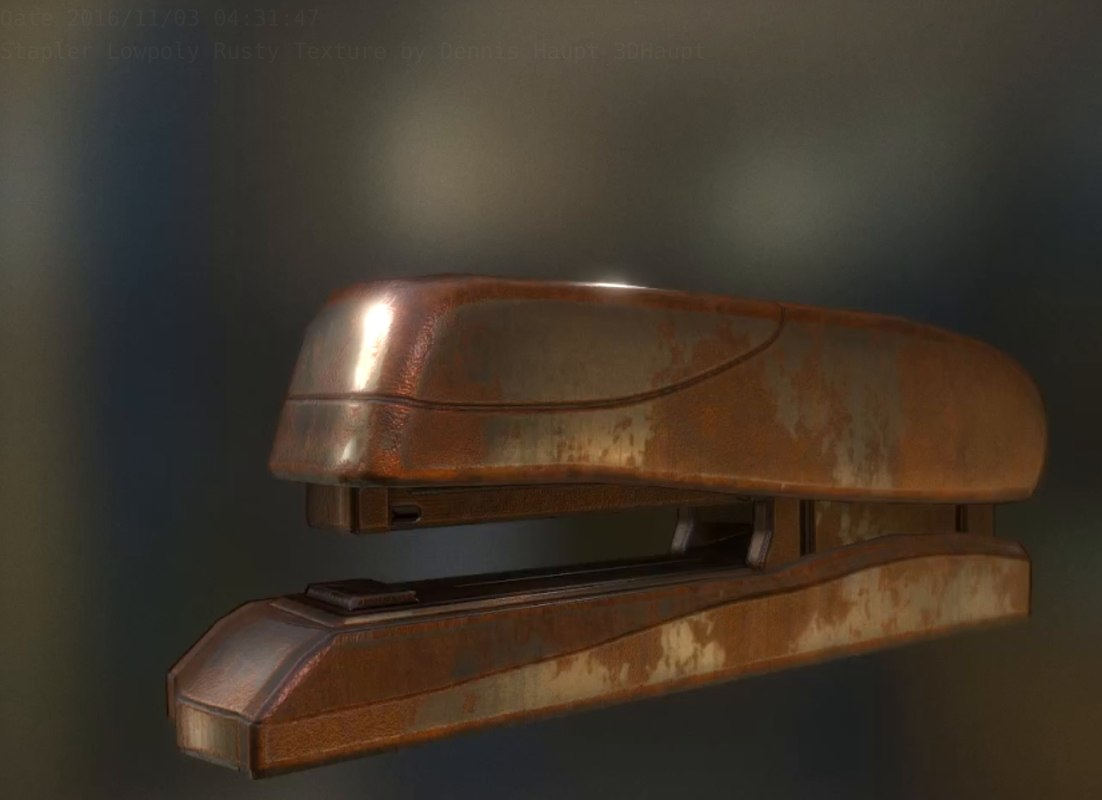 stapler rigged rusty 3d model