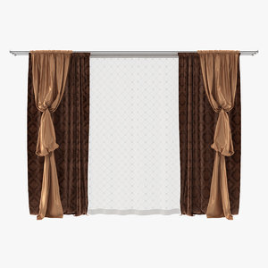 3d curtain bishop sleeve drapery model