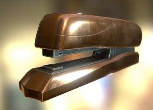 3d model stapler rigged copper